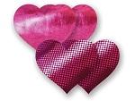 Комплект из 1 пары пурпурных пэстис-сердечек с блестками и 1 пары пурпурных пэстис-сердечек  с гладкой поверхностью #8004