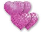 Комплект из 1 пары розовых пэстис-сердечек с блестками и 1 пары розовых пэстис-сердечек  с кружевной поверхностью #8005