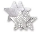 Комплект из 1 пары серебристых пэстис-звездочек с блестками и 1 пары серебристых пэстис-звёздочек с гладкой поверхностью #8007