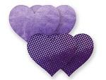Комплект из 1 пары фиолетовых пэстис-сердечек с блестками и 1 пары сиреневых пэстис-сердечек с гладкой поверхностью #8009