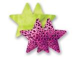 Комплект из 1 пары лаймовых пэстис-звездочек и 1 пары розовых пэстис-звездочек с леопардовым принтом #8016