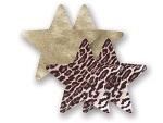 Комплект из 1 пары пэстис-звездочек с леопардовым принтом и 1 пары золотистых пэстис-звездочек #8017