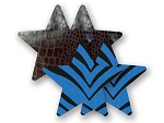 Комплект из 1 пары черных пэстис-звезочек под змеиную кожу и 1 пары синих пэстис-звёздочек в полоску #8019