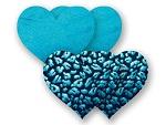 Комплект из 1 пары бирюзовых пэстис-сердечек и 1 пары черных пэстис-сердечек с леопардовым принтом #8021