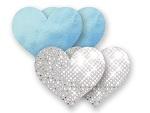 Комплект из 1 пары голубых пэстис-сердечек и 1 пары серебристых пэстис-сердечек с блёстками #8023