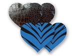 Комплект из 1 пары черных пэстис-сердечек под змеиную кожу и 1 пары синих пэстис-сердечек в полоску #8027