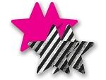 Комплект из 1 пары розовых пэстис-звездочек и 1 пары черно-белых пэстис-звездочек в полоску #8029