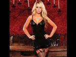 Черное платье с подвязками для чулок #11926