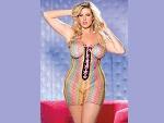 Радужное платье-сетка со шнуровкой спереди  #13184