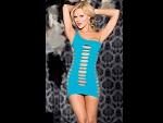 Сексуальное платье на одной бретельке с разрезами #13199