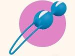 Ярко-голубые вагинальные шарики Smartballs Duo #13393