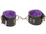Чёрные кожаные наручники X-Play с фиолетовым мехом внутри #14280