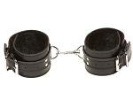 Чёрные кожаные оковы X-Play с чёрным мехом внутри #14304