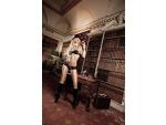 Черный комплект-бикини Agent Of Love с  трусиками, косточками, белыми кружевными деталями и бантиком #15013