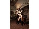 Черный комплект-бикини Agent Of Love со стрингами, косточками, белыми кружевными деталями и бантиком #15014