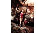 Малиновое полупрозрачное платьице с кружевным бюстье и стрингами Have Fun Princess #15170