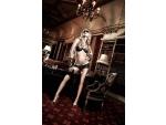 Светло-бежевый комплект бикини с черными кружевными элементами Agent Of Love #15471