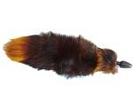 Анальная пробка черного цвета с тонированным оранжевым хвостом #16576