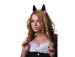 Чёрные ушки кошки с розовыми вставками #16774