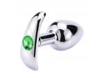 Серебристая анальная пробка для ношения с зеленым кристаллом - 7 см.