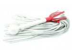Белая кожаная плеть с красной отделкой - 60 см. #105386
