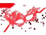 Красная ажурная текстильная маска Марго #108389