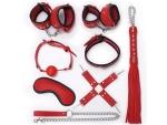 Пикантный красно-черный набор БДСМ: маска, ошейник, кляп, фиксатор, наручники, оковы, плеть
