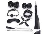 Пикантный черный набор БДСМ: маска, ошейник, кляп, фиксатор, наручники, оковы, плеть