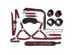 Черно-красный набор БДСМ: наручники, оковы, ошейник с поводком, кляп, маска, плеть, лиф #108424