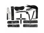 Большой черный набор БДСМ: наручники, оковы, ошейник с поводком, кляп, маска, плеть, фиксатор #108426