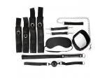 Черный текстильный набор БДСМ: наручники, оковы, ошейник с поводком, кляп, маска, плеть #108427
