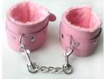 Розовые оковы на цепочке с карабинами