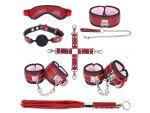 Большой игровой набор БДСМ: маска, ошейник, кляп, фиксатор, наручники, оковы, плеть #128694