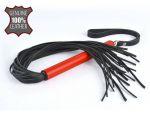 Черная кожаная плеть MIX с красной рукоятью - 47 см. #151231