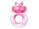 Розовое эрекционное виброкольцо на пенис Pink Bear #183036
