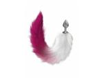 Серебристая анальная пробка с розовым хвостом Starlit #183074