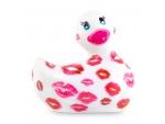 Белый вибратор-уточка I Rub My Duckie 2.0 Romance с розовым принтом #198441