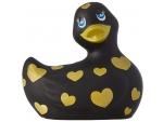 Черный вибратор-уточка I Rub My Duckie 2.0 Romance с золотистым принтом #198442