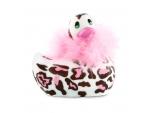 Белый вибратор-уточка I Rub My Duckie 2.0 Wild с леопардовым принтом #198443