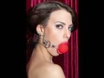 Красный силиконовый кляп-шар на прозрачных ремешках #27278