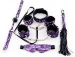 Большой кружевной набор пурпурного цвета: маска, наручники, оковы, ошейник, флоггер, кляп #27317