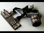 Чёрные наручники с хромированной трубкой для подвешивания  #27991