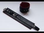 Чёрные подшитые кожаные наножники с красным подкладом #28095