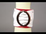 Бело-красный браслет с овальной пряжкой  #28137