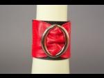 Красно-чёрный кожаный браслет с овальной пряжкой #28138