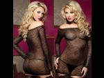 Прозрачное платьице с длинными рукавами и трусиками #30170