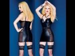 Черное короткое платье из искусственной кожи #30546