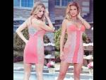 Обтягивающее платье с кружевными вставками #30773