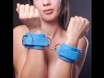 Голубые наручники на мягкой меховой подкладке #33910