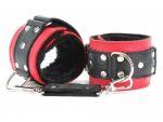 Красно-чёрные кожаные наручники с меховым подкладом #35117
